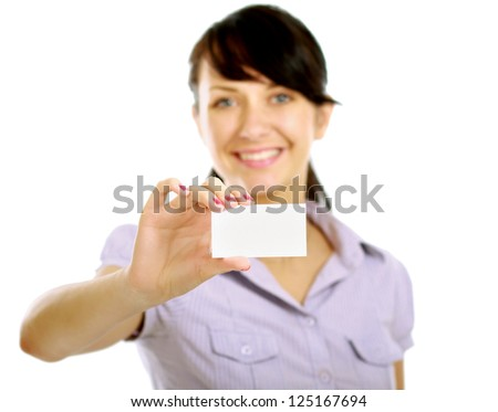 Beautiful businesswoman with business card, isolated on white background