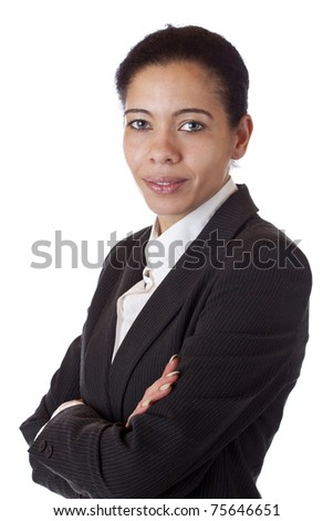 Beautiful businesswoman with crossed arms looks self-confident. Isolated on white background. - stock photo