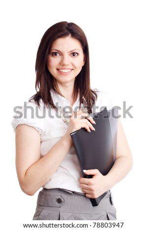 Beautiful businesswoman with folders in hands. Isolated over white.