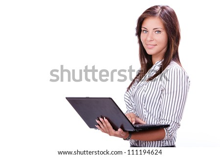 Beautiful businesswoman with laptop over white background - stock photo