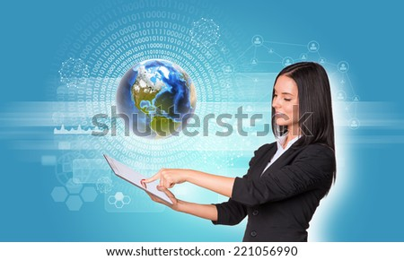 Beautiful businesswomen in suit using digital tablet. Earth with figures, network and rectangles. Element of this image furnished by NASA - stock photo