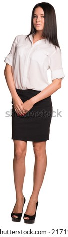 Beautiful businesswomen standing and looking at camera - stock photo