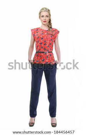 Beautiful Busyness Woman Blonde Fashion Model in floral blouse isolated on white