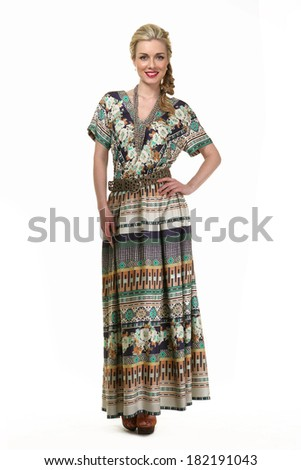 Beautiful Busyness Woman Blonde Fashion Model in long summer dress isolated on white