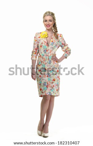 Beautiful Busyness Woman Blonde Fashion Model  in summer suit isolated on white