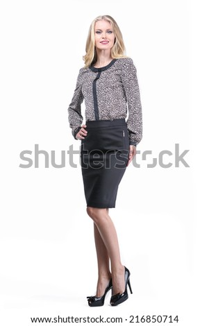Beautiful Busyness Woman Fashion Model in office clothes