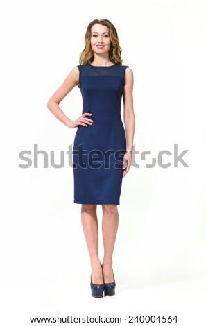Beautiful Busyness Woman  Fashion Model in sleeveless dress - stock photo