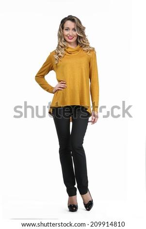 Beautiful Busyness Woman  Fashion Model in yellow long sleeve blouse - stock photo