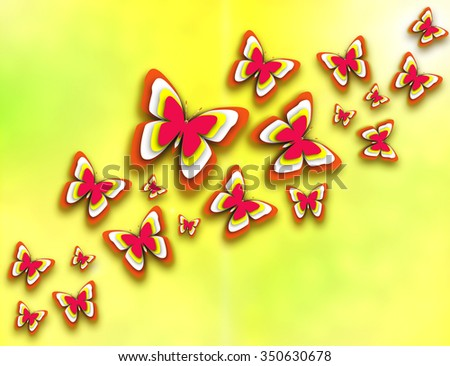 Beautiful butterflies flying to the sun. Illustration of spring sunny summer day and joy in the air. Yellow, red, white and orange colorful butterfly background. Yellow green bokeh effect backdrop.  - stock photo