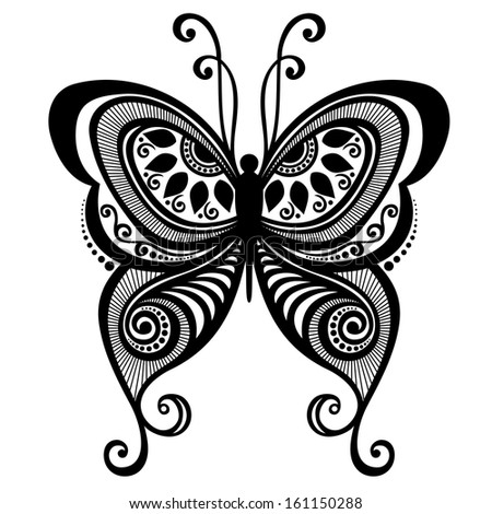 Beautiful Butterfly, Exotic Insect. Patterned design, Tattoo