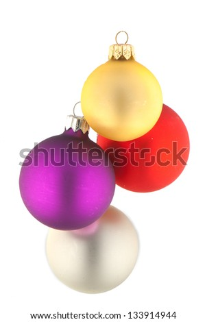 beautiful  c��hristmas ball on white  isolated  background.  Studio photography