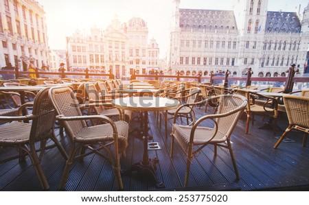 beautiful cafe in Brussels, Belgium - stock photo