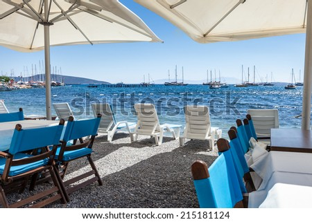 Beautiful cafeteria at the beach, Greece  - stock photo