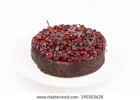 beautiful cake decorated with natural red fresh cherries - stock photo