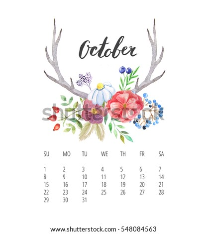 Beautiful Calendar template with with delicate and colorful forest floral set and hand drawn name of month for October 2017 year. Hand lettering. Autumn. Sunday start