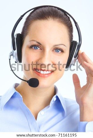 Beautiful  call center operator with headset. Over blue background - stock photo