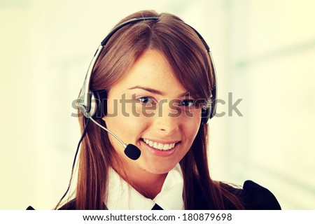 Beautiful Call Center Woman Wearing A Telephone Headset, isolated on white background  - stock photo