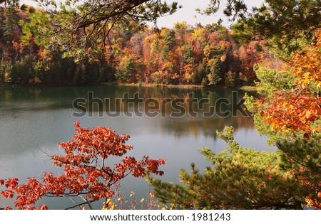 Beautiful calm at Pink Lake - stock photo