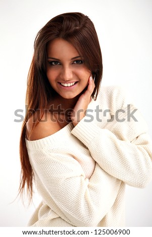 Beautiful calm brunette isolated over white background
