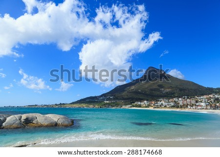 Beautiful Camps Bay Beach and Lion Head Mountain Chain, Cape Town, South Africa - stock photo
