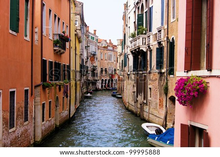 Beautiful canal scene in Venice, Italy - stock photo