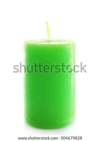 Beautiful candle, isolated on white - stock photo