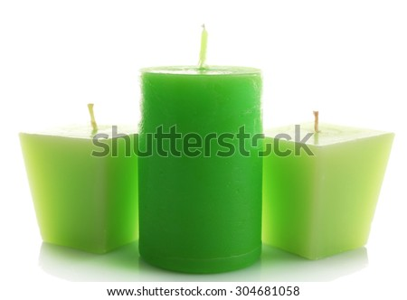 Beautiful candles, isolated on white - stock photo