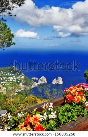 beautiful Capri island. Italian holidays - stock photo