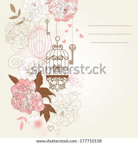 Beautiful card with birdcages, clock, keys, peonies.