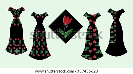 Beautiful card with collection of female dresses with tulip flowers. Fashion design.
