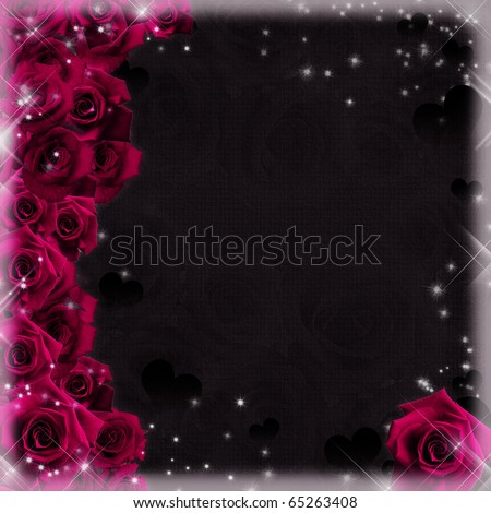 beautiful card with ppink roses and hearts - stock photo