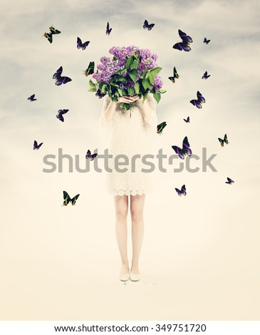 Beautiful Card with Woman, Flowers and  Butterfly. Summer Love Background - stock photo
