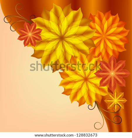 Beautiful card with yellow and orange flowers, corner vignette. Raster copy of vector image