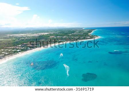 Beautiful caribbean beach in Dominican Republic aerial view - stock photo