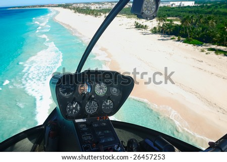 Beautiful caribbean beach in Dominican Republic aerial view from helicopter - stock photo