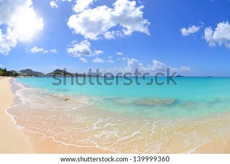 Beautiful Caribbean Beach in the Summertime - stock photo