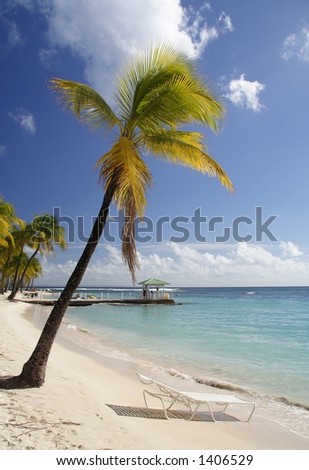 Beautiful caribbean beach with a deck chair