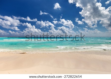 Beautiful caribbean sea beach with turquoise water - stock photo