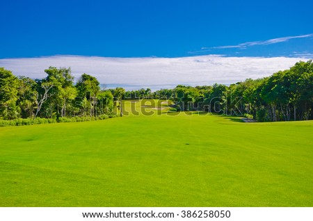 Beautiful caribbean, tropical golf course. - stock photo