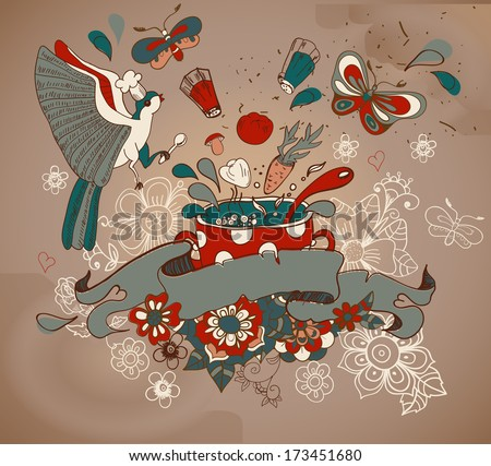 Beautiful cartoon with vegetables, pan, bird and flowers old style - stock photo