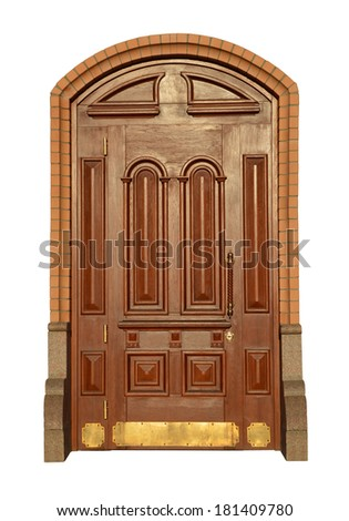 Beautiful carved wooden mahogany door with surround relief isolated on white background - stock photo