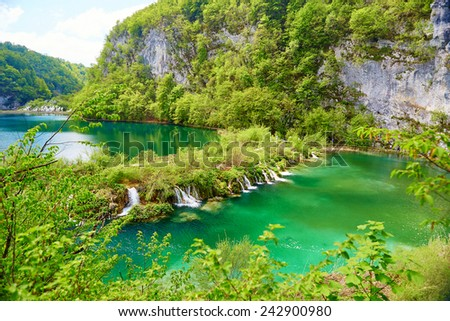 Beautiful cascades in Plitvice national park, Croatia