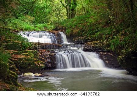 Beautiful cascades of Clare Glens - Ireland - stock photo