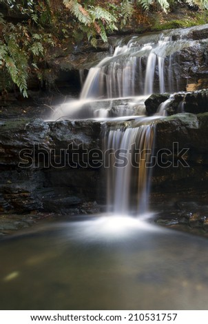 Beautiful cascading pure waterfall in the Blue Mountains Australia