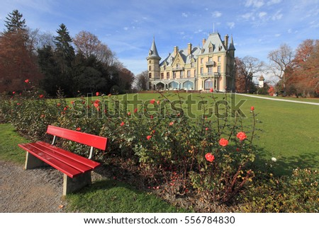 beautiful castle and garden on the shore of Lake Thun, Switzerland