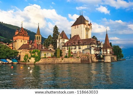 Beautiful castle Oberhofen on the Thun lake, Switzerland