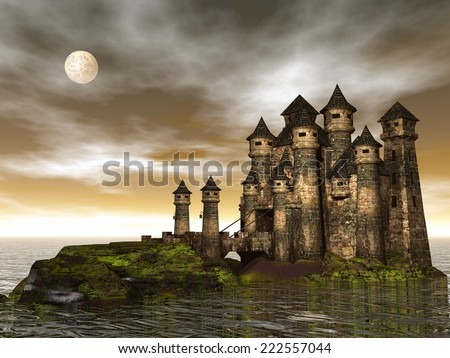 Beautiful castle on a hill among the ocean by brown full moon night - 3D render - stock photo
