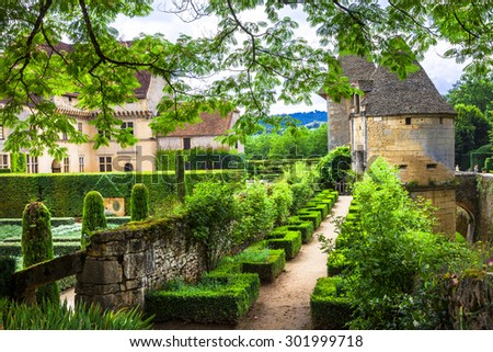 beautiful castles and gardens of France, Dordogne region - stock photo