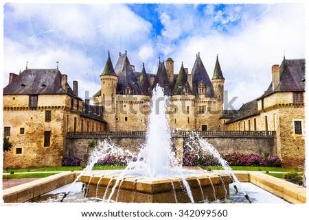 beautiful castles of France - Jumilhac-le-grand, artsitic pictur - stock photo