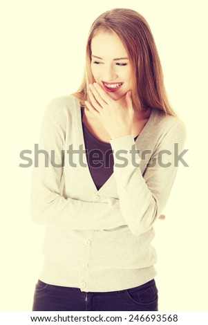 Beautiful casual caucasian woman laughing. - stock photo